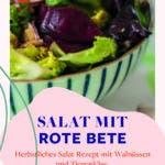 Schüssel gefüllt mit grünem Salat, rote Bete und Champignons.