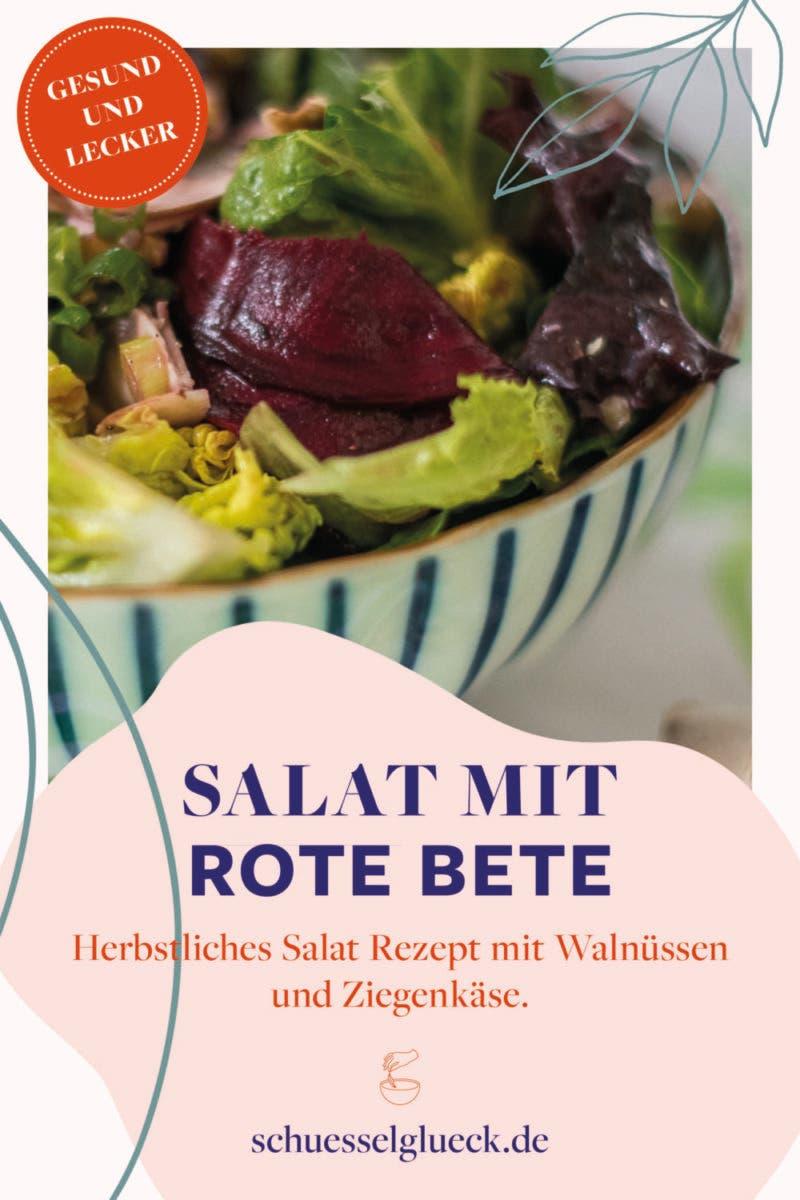 Grüner Salat mit Rote Bete, Champignons und Walnüssen