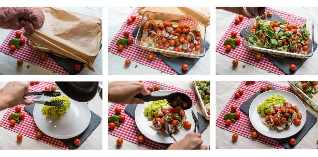 Schritt für Schritt Anleitung zum Anrichten von Kabeljau aus dem Ofen mit Gemüse