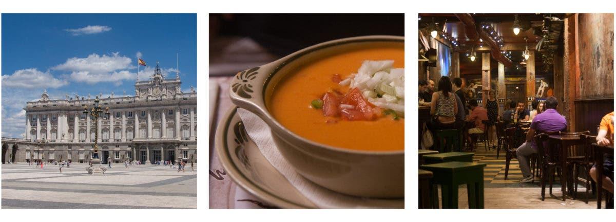 Collage aus drei Fotos, Restaurant, Suppe und Sehenwürdigkeit