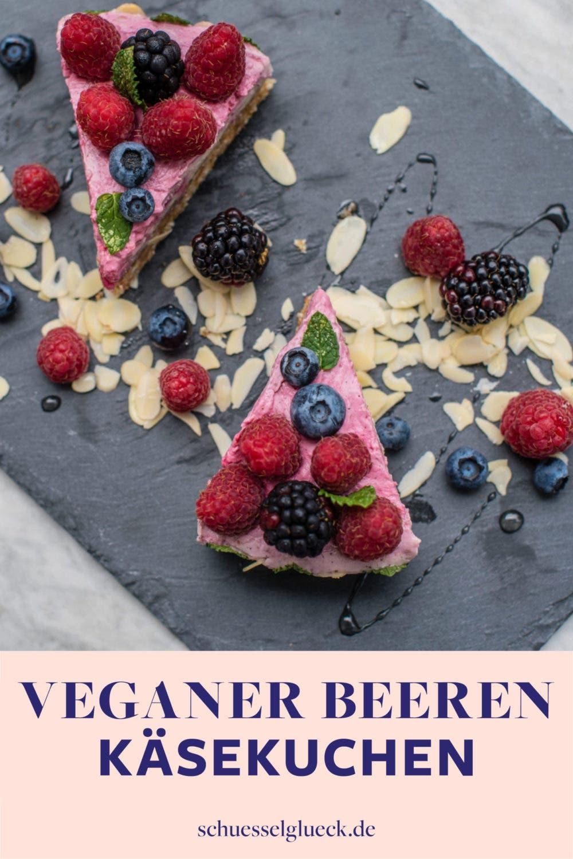 Veganer Käsekuchen mit Himbeeren (ohne backen)