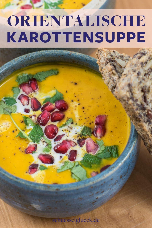 Orientalische Karotten – Ingwer-Suppe mit Granatapfelkernen