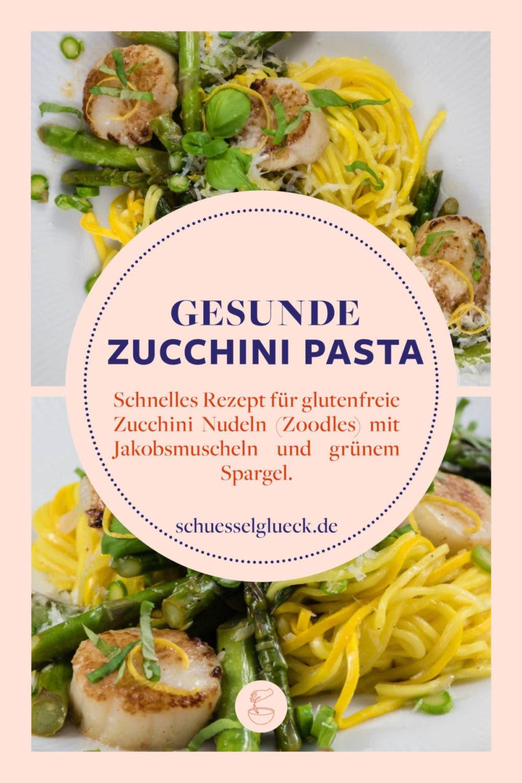 Zucchini-Pasta mit Jakobsmuscheln und Spargel - leicht & lecker!