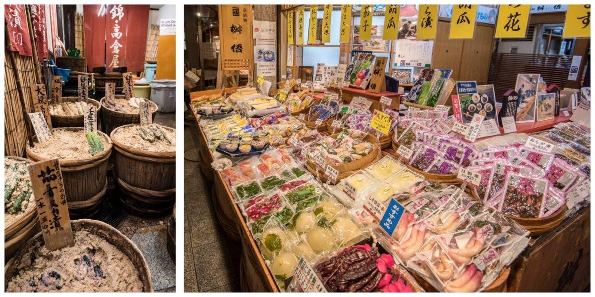 Offene und abgepackte Fermente auf dem Nishiki Market in Kyoto