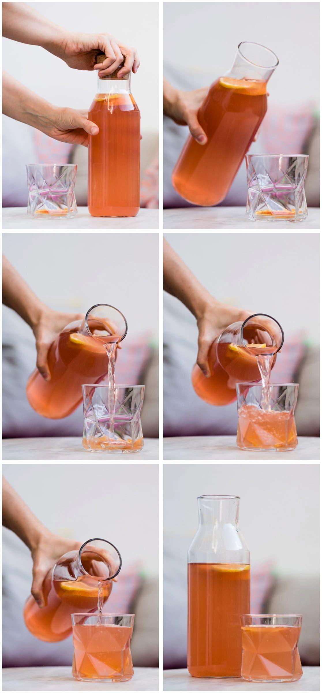 Step by Step Wasserkefir von Glasflasche in Glas füllen
