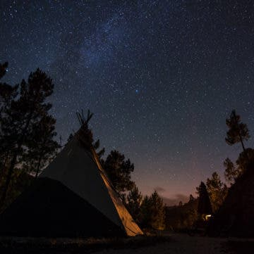Tippi bei Nacht unter klarem Sternenhimmel