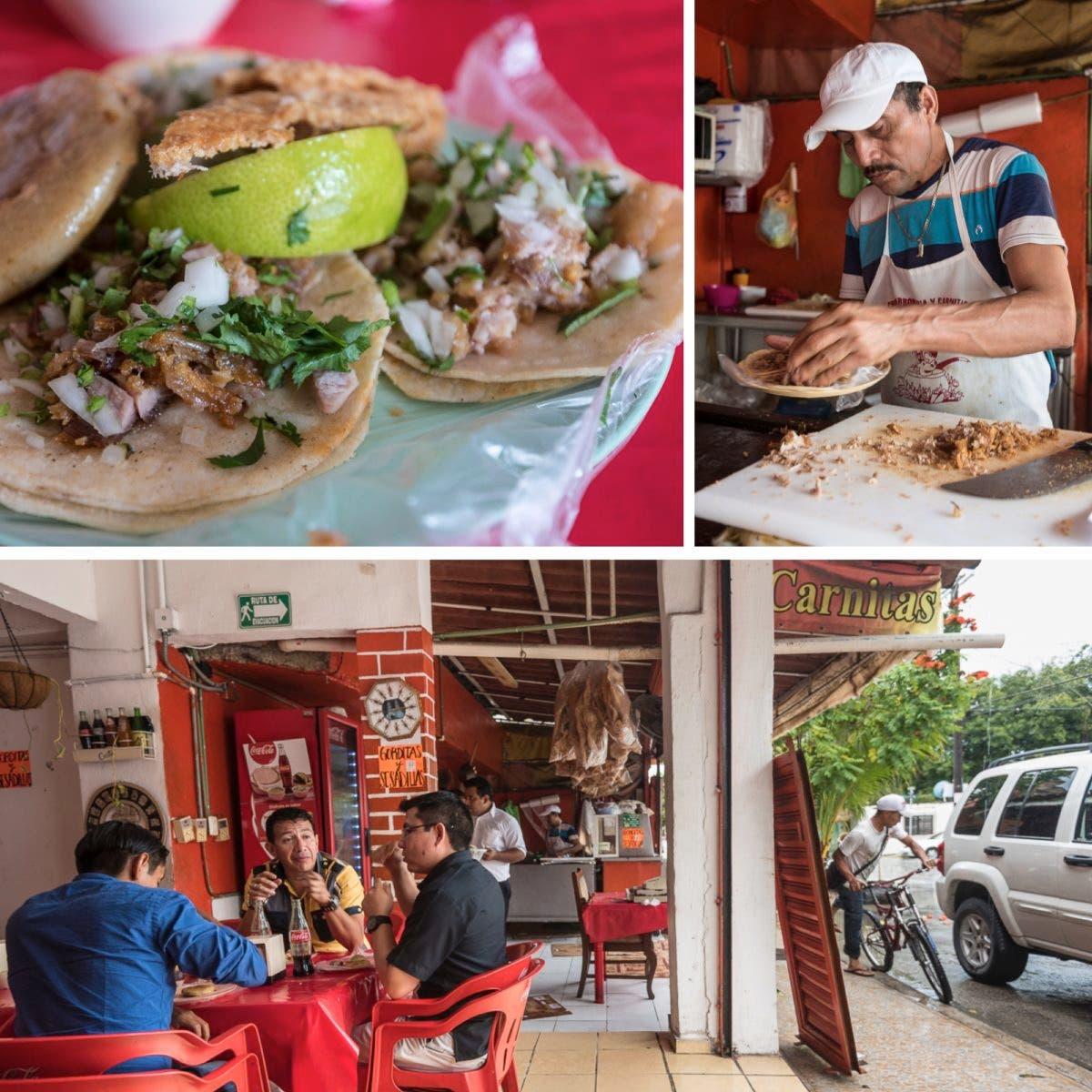 Collage aus drei Fotos mit Essen und Imbiss