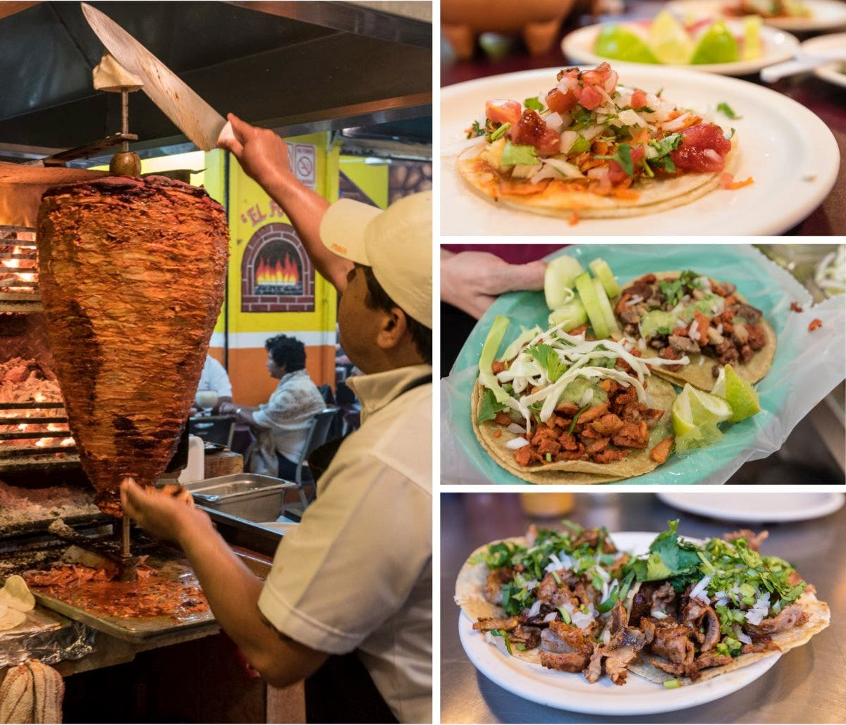 Collage aus vier Fotos, Mann schneidet Fleisch am Spieß und Tortilla mit Füllungsvariationen