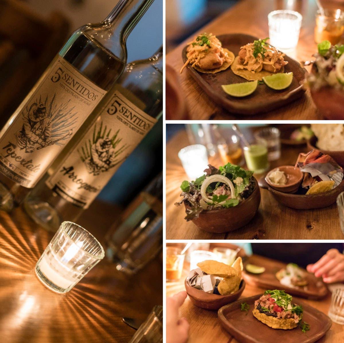 Collage von verschiedenen mexikanischen essen und Mescal in Flaschen