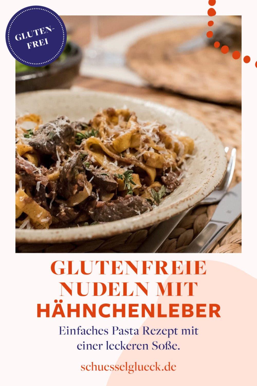 Glutenfreie Pasta mit Hähnchenleber, Rotwein und getrockneten Tomaten