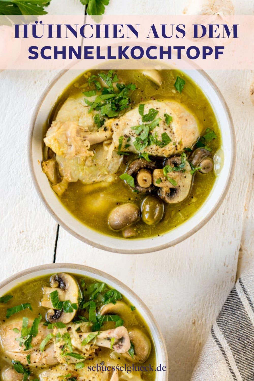 Sherry Huhn mit Oliven und Champignons aus dem Schnellkochtopf