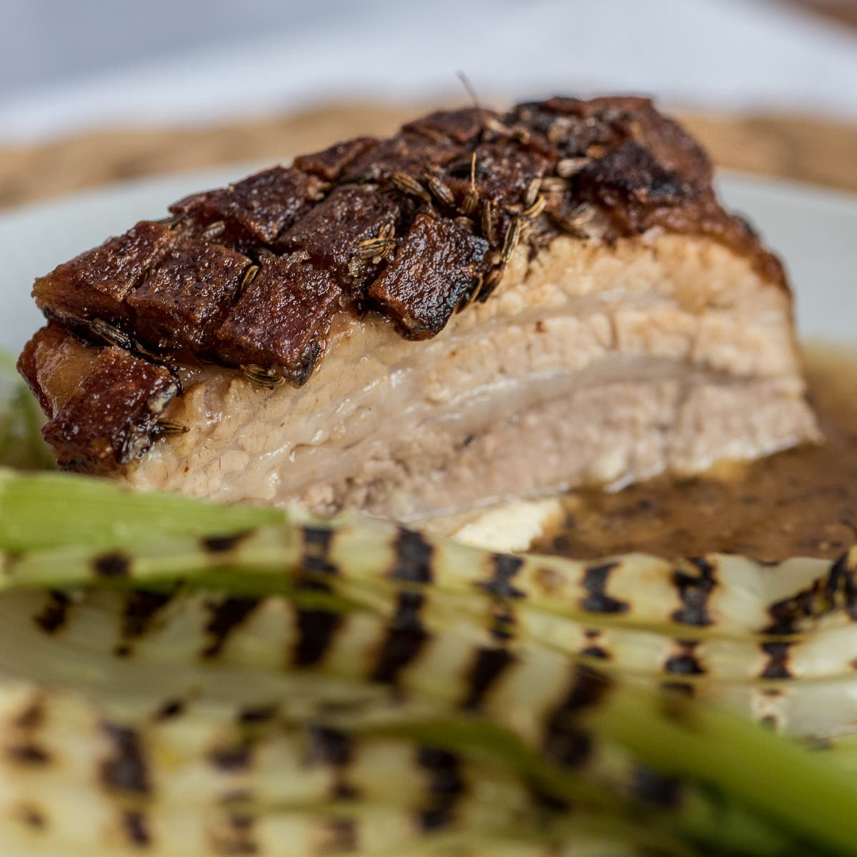 CloseUp von gebratenem Schweinebauch mit dunkler Sauce und Fenchel