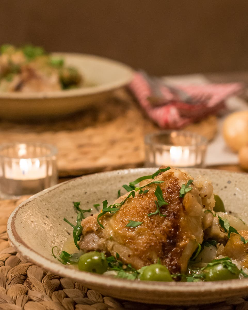 Sherry Huhn mit Oliven aus dem Schnellkochtopf