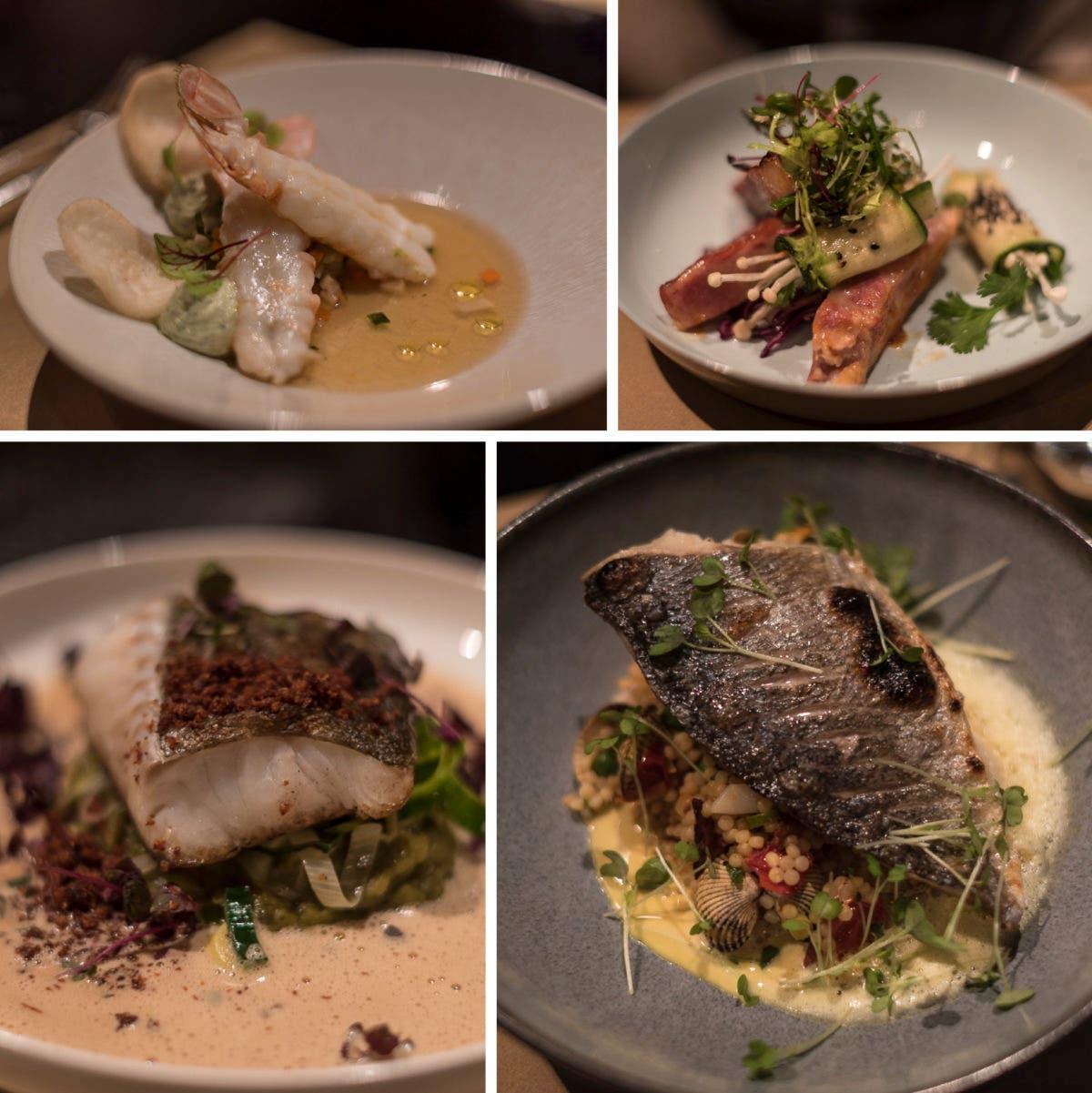 Collage aus vie verschiedenen Gerichten mit Fisch