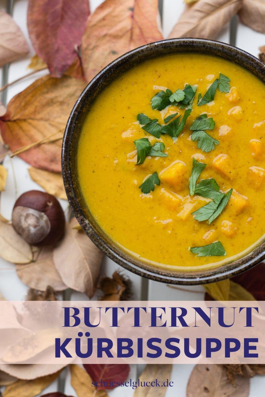 Herrlich würzige, vegane Butternut Kürbissuppe mit Rauchsalz und Curry