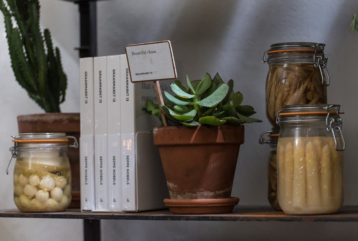 Regalbrett mit Bügelgläsern mit eingelegtem Gemüse, Topfpflanze und Büchern