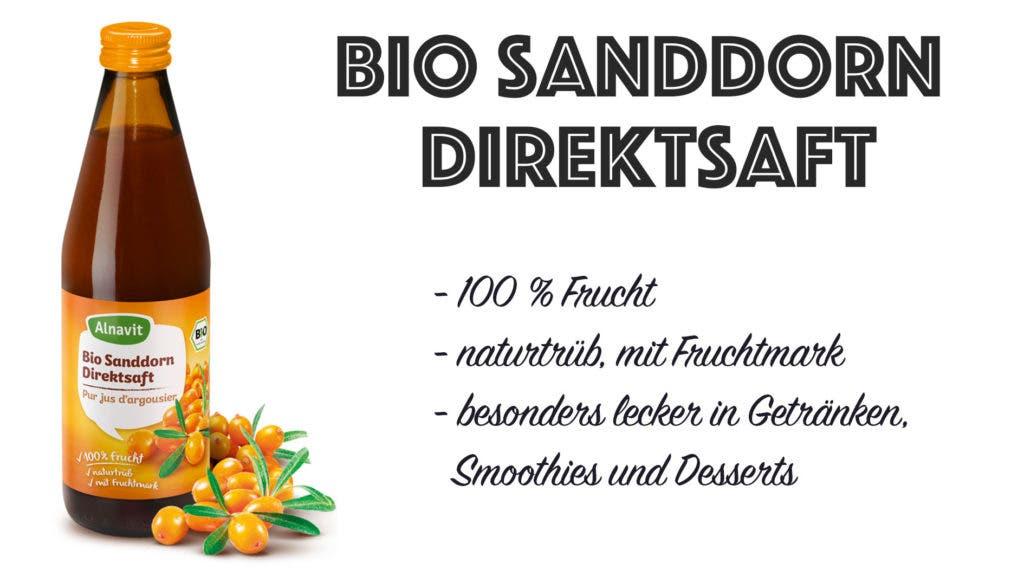 Flasche mit Bio Sanddorn und Informationen