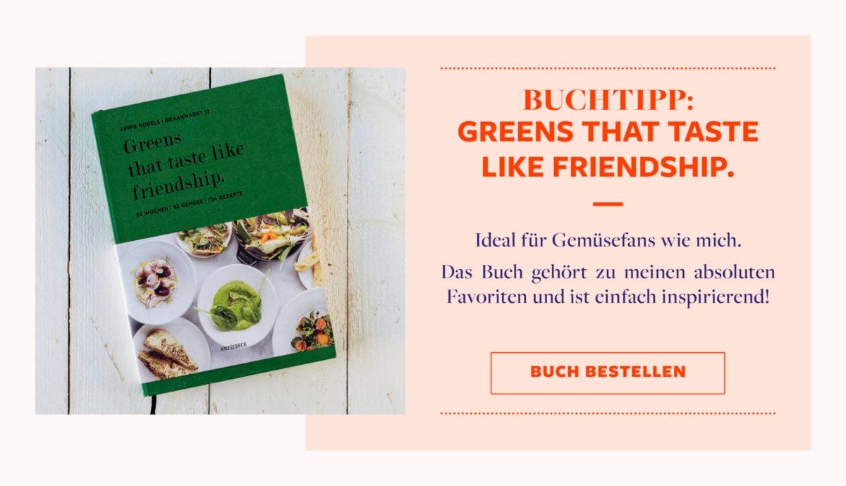 """Grafik mit Buchtipp für """"Greens that taste like friendship""""."""