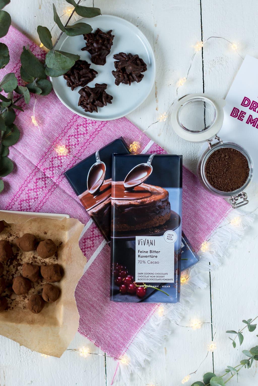 Die drei besten Last Minute Geschenkideen aus Schokolade: Mexikanischer Hot Chocolate Mix, Mandelsplitter und belgische Trüffel mit Muscodavo Zucker