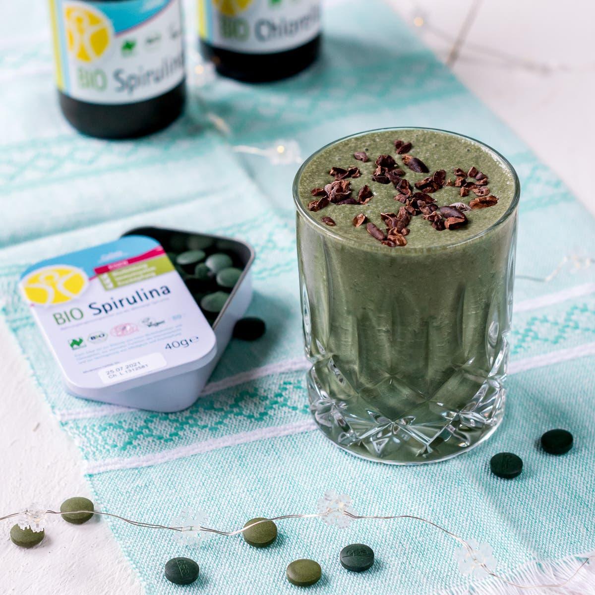 Grüner Kaffee Shake mit Chlorella & Spirulina
