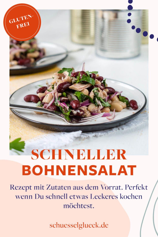 Schneller Bohnensalat mit zweierlei Bohnen, Thunfisch und Zwiebeln