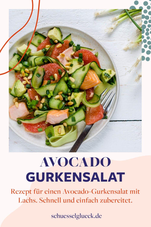 Erfrischender Avocado-Gurkensalat mit Stremellachs und Grapefruit