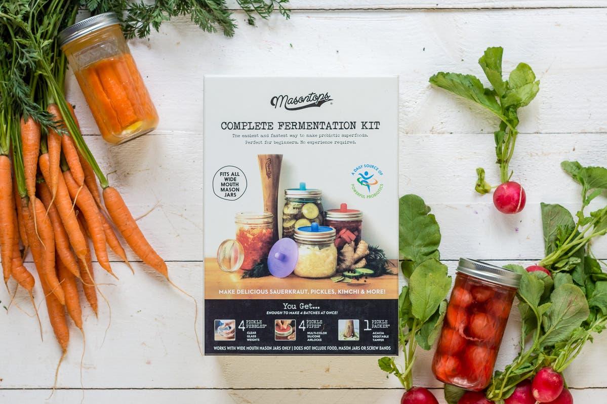 Topshot Fermentationsset, dekoriert mit Gemüse