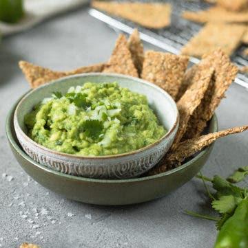 Schüssel gefüllt mit frischer Guacamole wie aus Mexico und salzigen Crackern