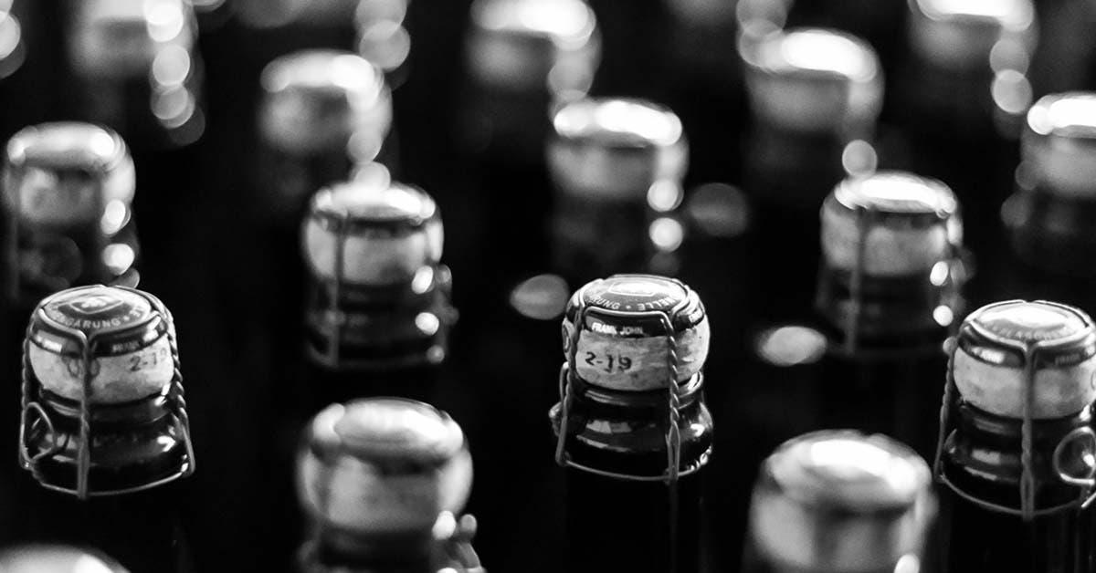 Schwarz Weiß Aufnahme von Weinflaschen.