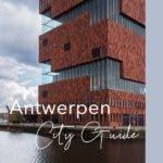 Gebäude in Antwerpen gebaut aus einer Mischung von Glas und roten Backsteinen