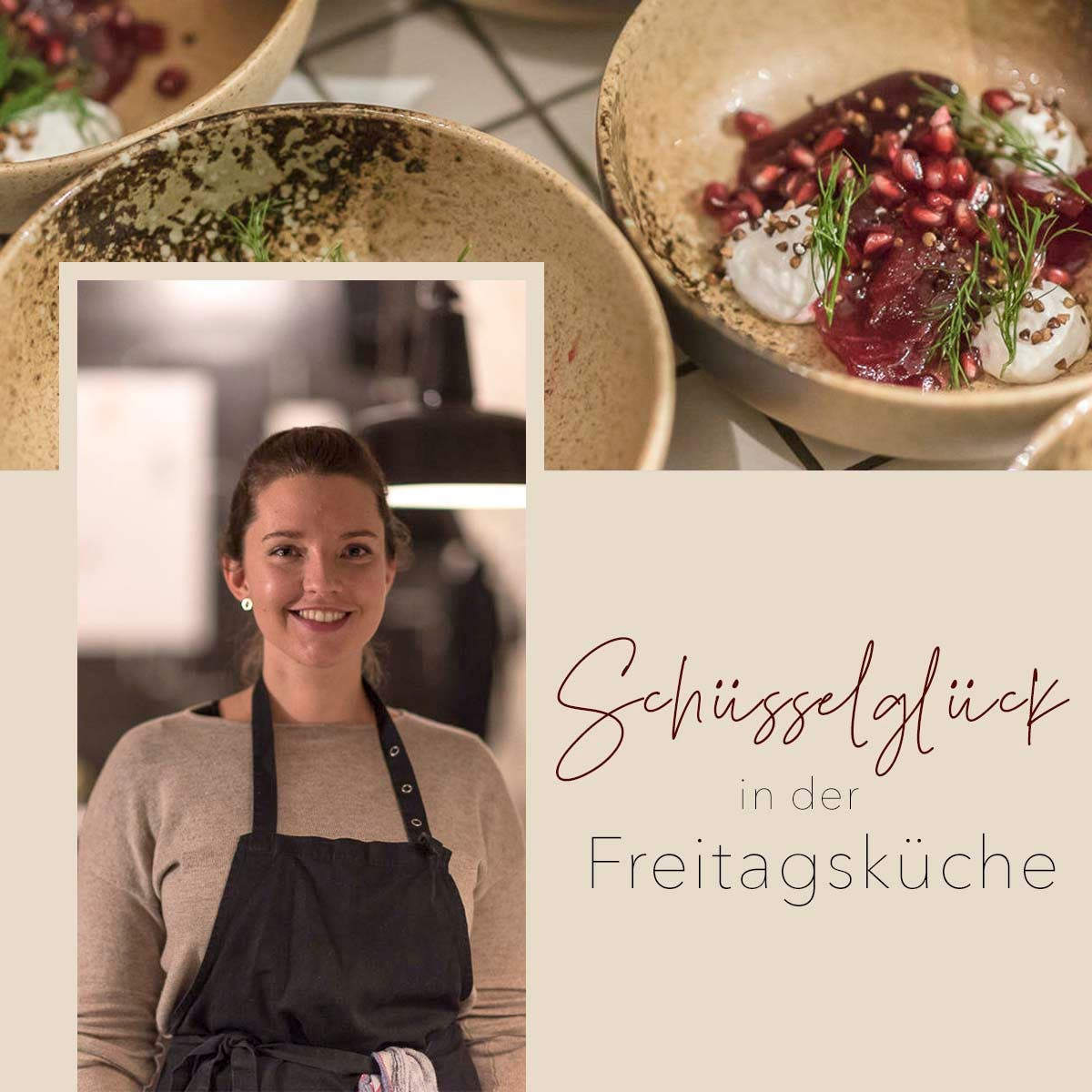 Fotocollage von lächelnder Frau in Kochschürze und einem Rote Bete Dill Salat