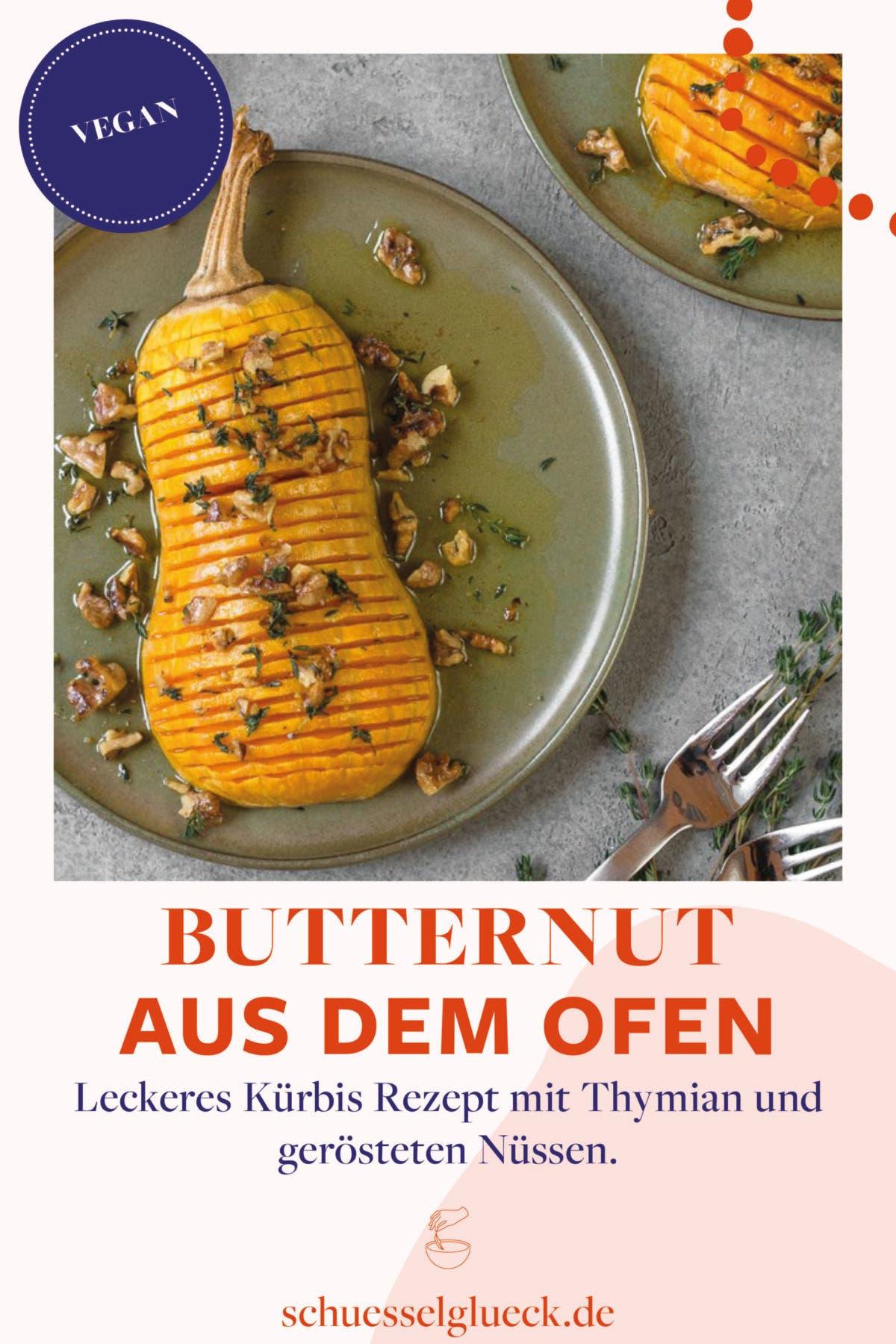 Butternut Kürbis aus dem Ofen mit Thymian und gerösteten Nüssen