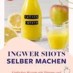 Ingwer Shot Bügelflasche, zwei Ingwer Shot Gläser, Apfel, Zitrone und Ingwer.