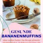 Glutenfreie Bananenmuffins mit Walnüssen und Zimt auf kleinem Teller mit Bananen und Muffins im Hintergrund.