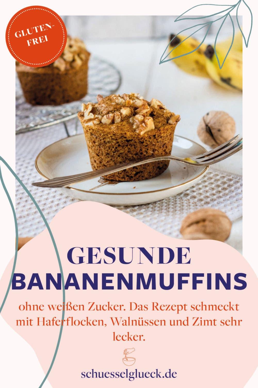 Superfluffige, glutenfreie Bananenmuffins mit Walnüssen und Zimt