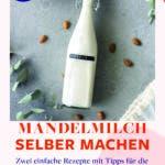 Topshot von Bügelflasche mit Mandelmilch