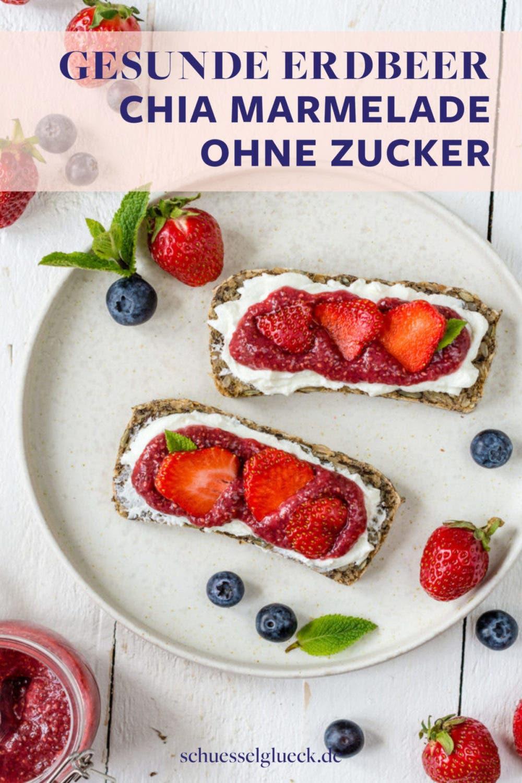 Erdbeer Chia-Marmelade ohne Zucker in 5 Minuten selber machen