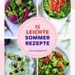 Collage aus vier Fotos von leichten Sommerrezepten
