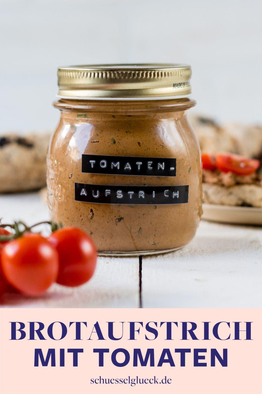 Veganer Brotaufstrich mit Sonnenblumenkernen und getrockneten Tomaten