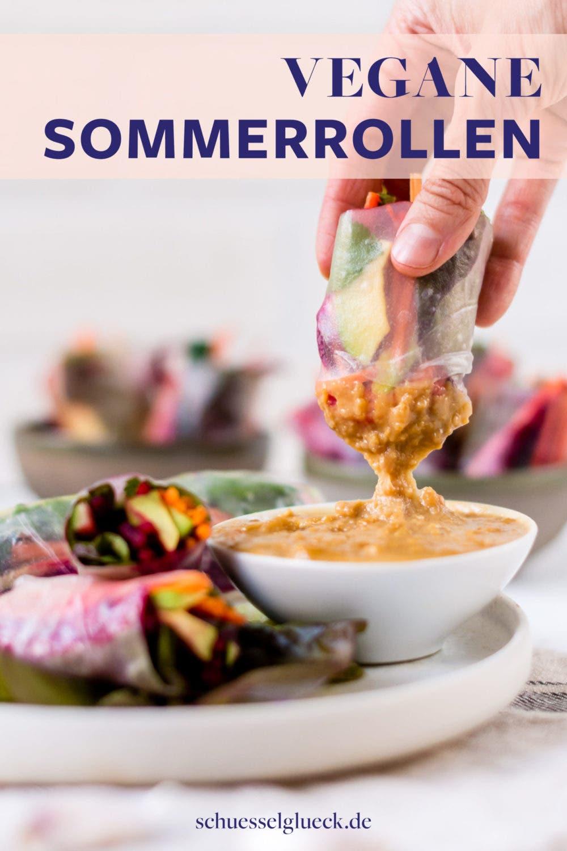 Vegane Sommerrollen mit Erdnussdip zum reinlegen