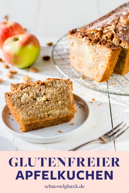 Saftiger, glutenfreier Apfelkuchen mit Mandeln & Marzipan – blitzschneller Kastenkuchen für Gäste!