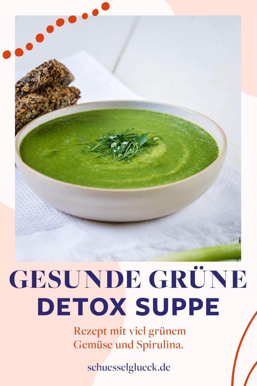Grüne Detox Suppe mit Frühlingsgemüse und Spirulina