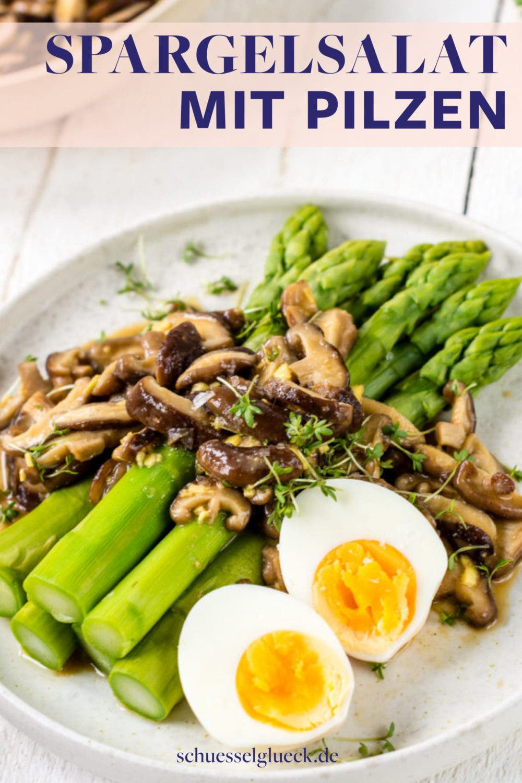 Lauwarmer Spargelsalat mit grünem Spargel und Shitake